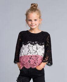 Blouse en dentelle multicolore Multicolore Rose «Blush» / Noir / Roses Enfant GA82QA-0S