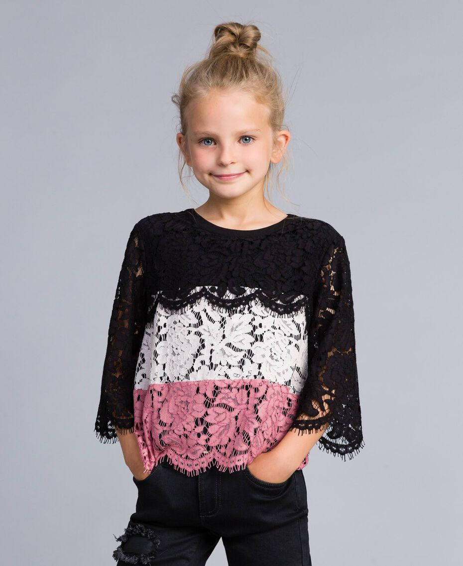 "Multi-coloured lace blouse Multicolour ""Blush"" Pink / Black / Roses Child GA82QA-0S"