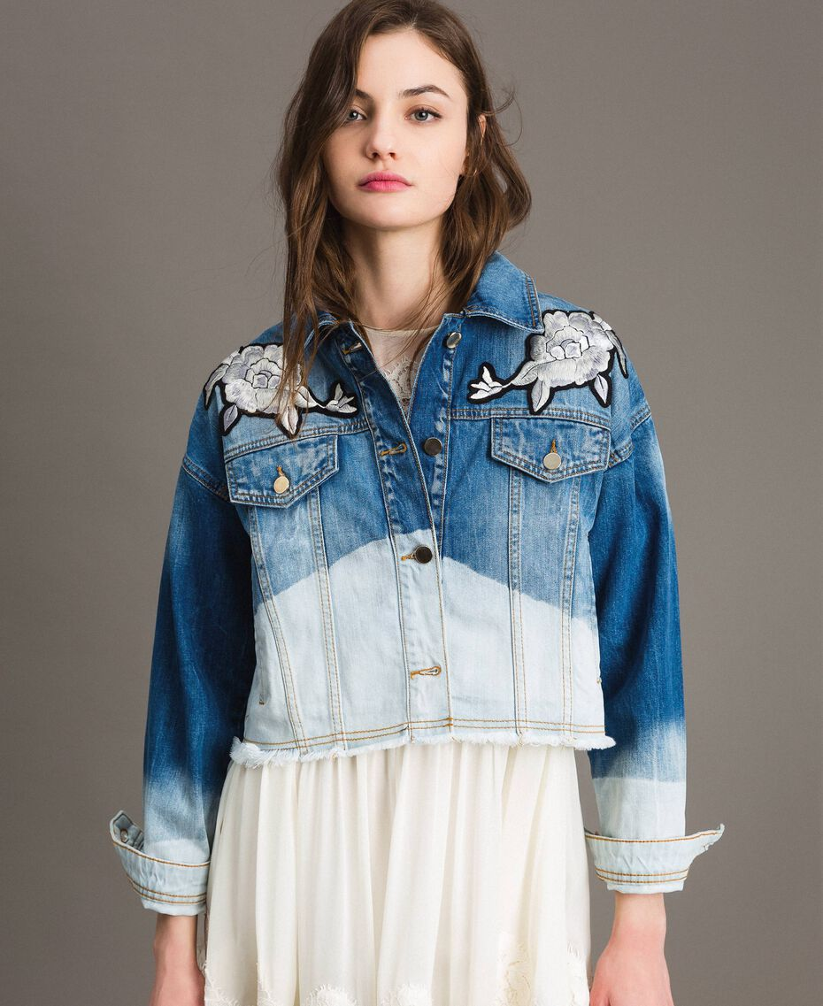 Denim jacket with floral patch Bleached Shades Woman 191TT2050-02