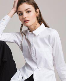 Popeline-Hemd mit Schleifen White Sahne Frau 191MP2216-05