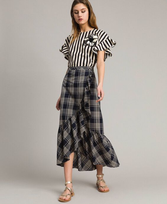 Long check cotton skirt