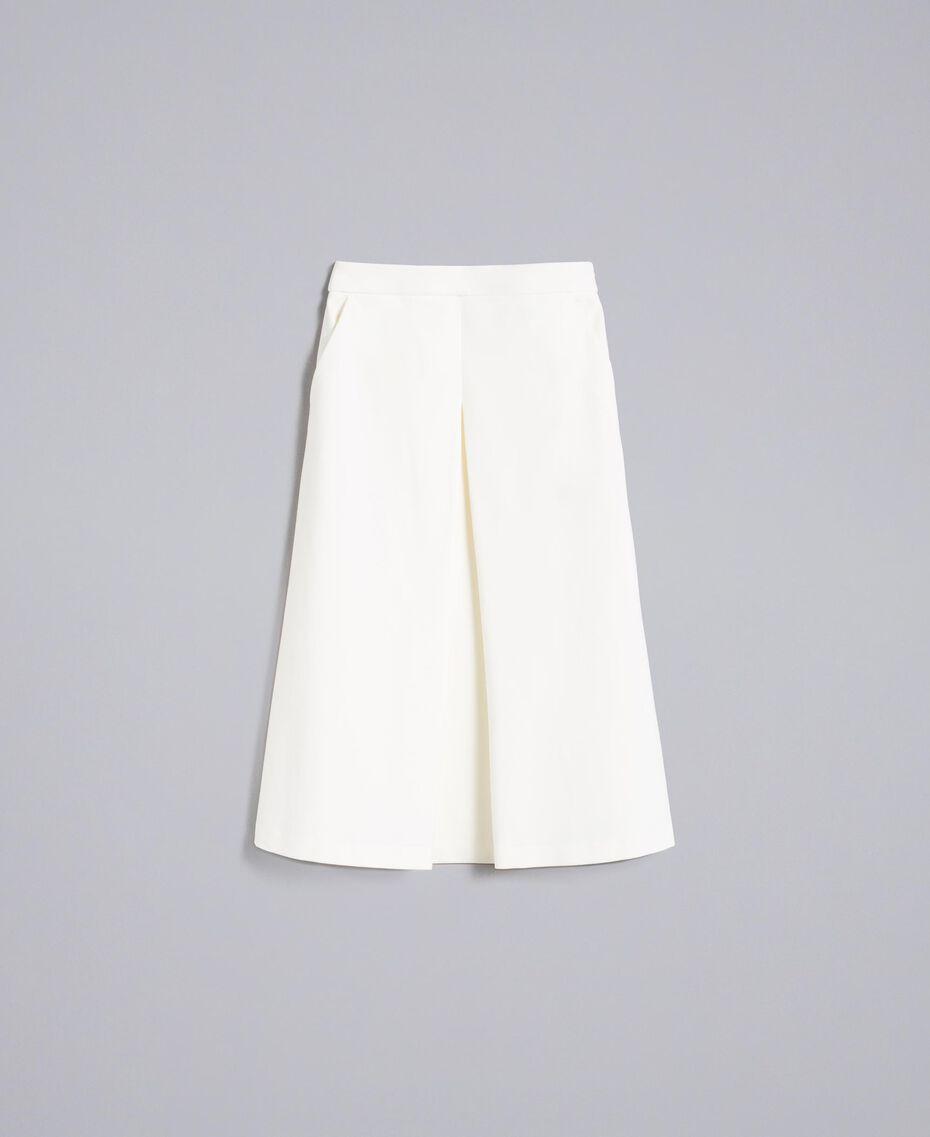 Jupe mi-longue en point de Milan Blanc Neige Femme PA8213-0S