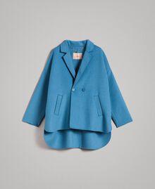 Caban en tissu de laine double Bleu Mykonos Clair Femme 191TP2481-0S