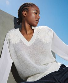 Mohair jumper with embroidery Creamy White Woman 202TP3260-01