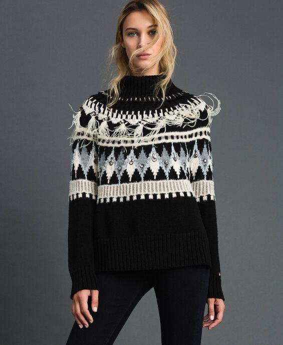 Jacquard jumper with embroideries and feathers