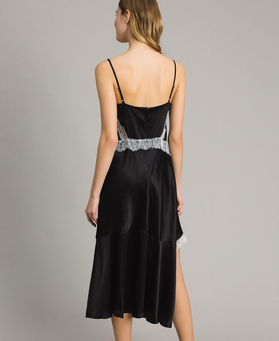 Robe longue en soie mélangée agrémentée de dentelle Bicolore Noir / Blanc Neige Femme 191TT2091-03
