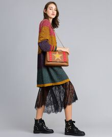 Maxicardigan aus Moulinégarn in Color-Block-Verarbeitung Mehrfarbiger Mouliné Frau YA831A-0T