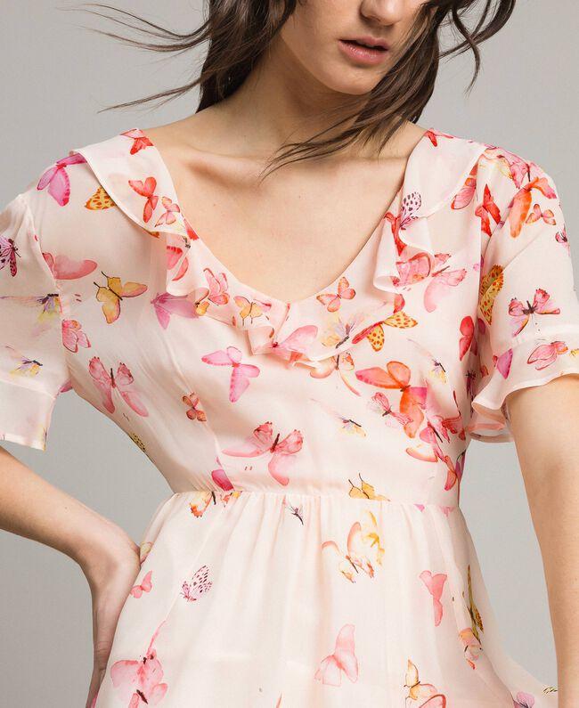 Georgette-Kleid mit Schmetterlings-Aufdruck Motiv Schmetterling Gemischt Pink Frau 191TT2394-04
