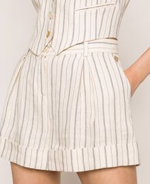 Pin stripe linen shorts Antique White Pin Stripe / Blue Woman 201TT2301-04