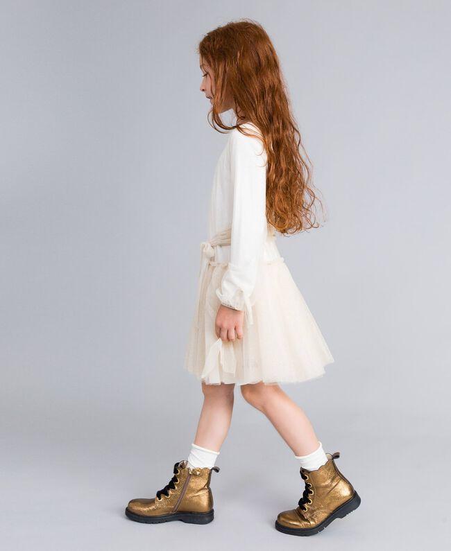 Kleid aus Lurextüll Zweifarbig Weiß / Goldlurex Kind GA82L1-03