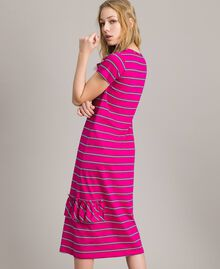 "Striped long dress with ruffle ""Electric Pink"" Fuchsia Striping Woman 191TP2281-04"