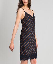 Robe nuisette rayée avec dentelle Rayé Bleu Nuit / Terre Battue Femme 192ST2234-02