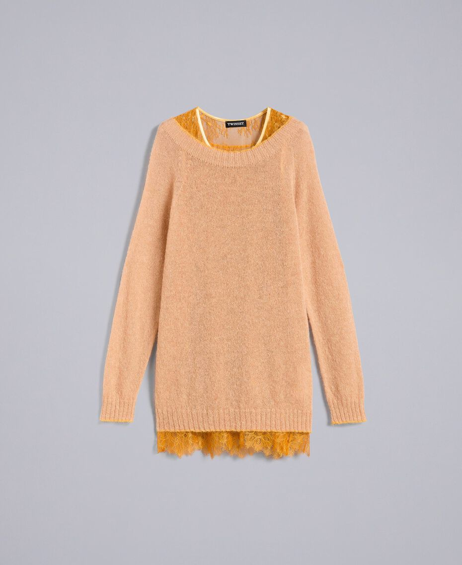Maxi mohair jumper with lace top Bicolour Camel / Brandy Woman PA836B-0S