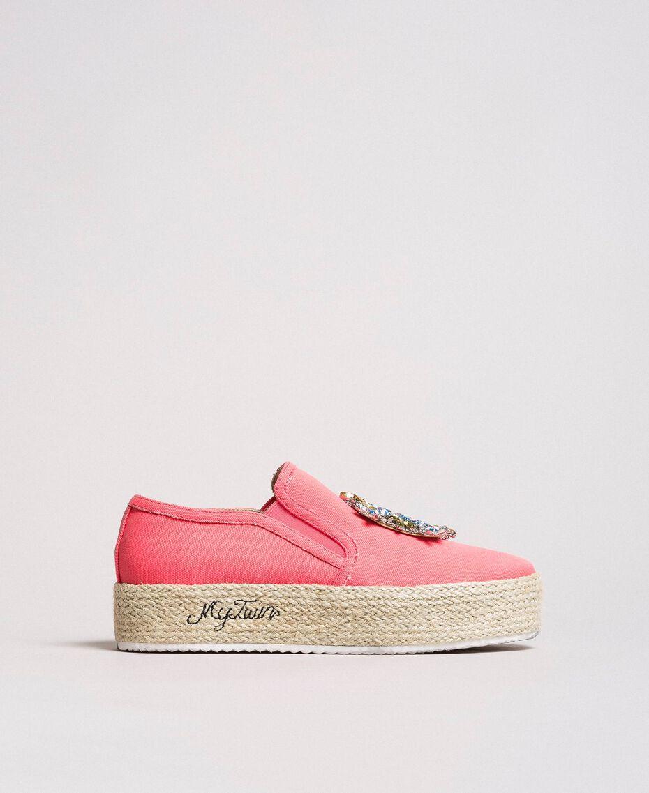 Chaussures slip-on en toile avec pierres Rose Camélie Femme 191MCP038-02