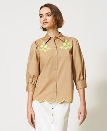 """Poplin shirt with high-vis embroideries """"Biscuit"""" Brown Woman 211MT2093-03"""