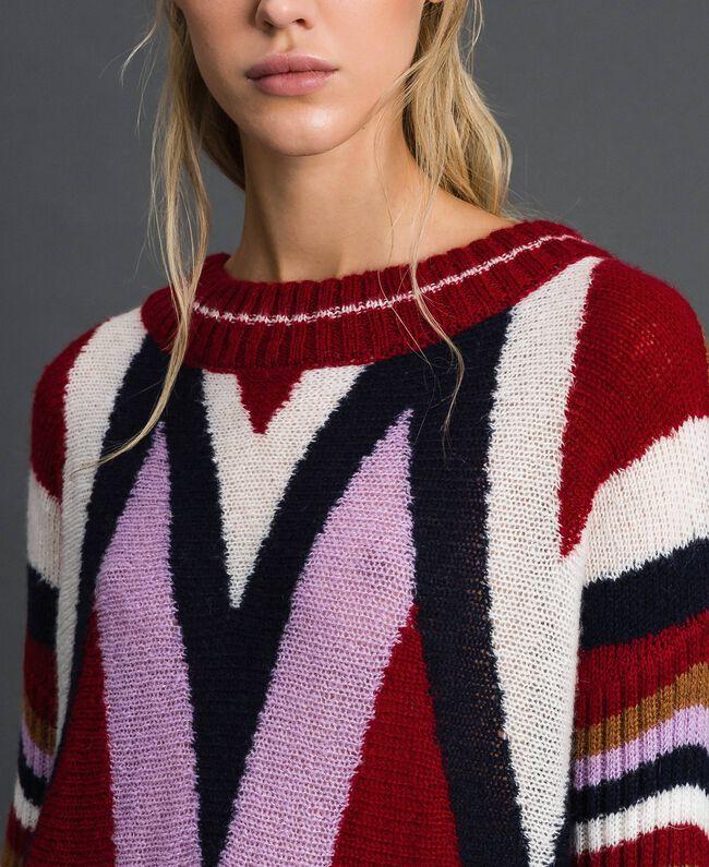 Maxi pull multicolore en laine et mohair Chevrons Rouge «Samba» Femme 192ST3110-04