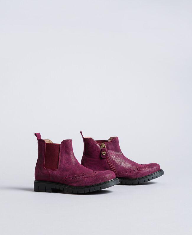 Bottines Beatles en cuir glacé Violet Raisin Doux Enfant HA88EA-01