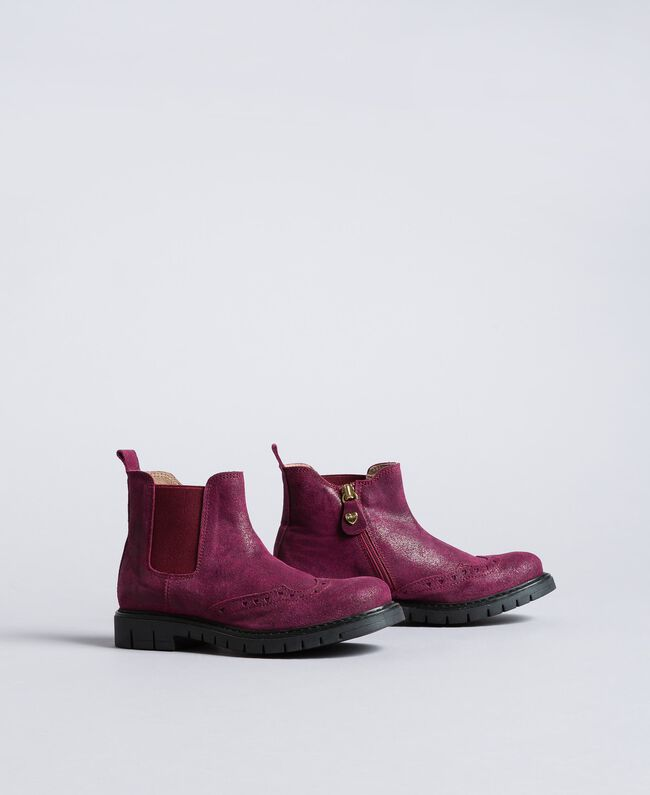 "Beatle-Boots aus Leder in Glanzoptik ""Sweet Grape""-Violett Kind HA88EA-01"