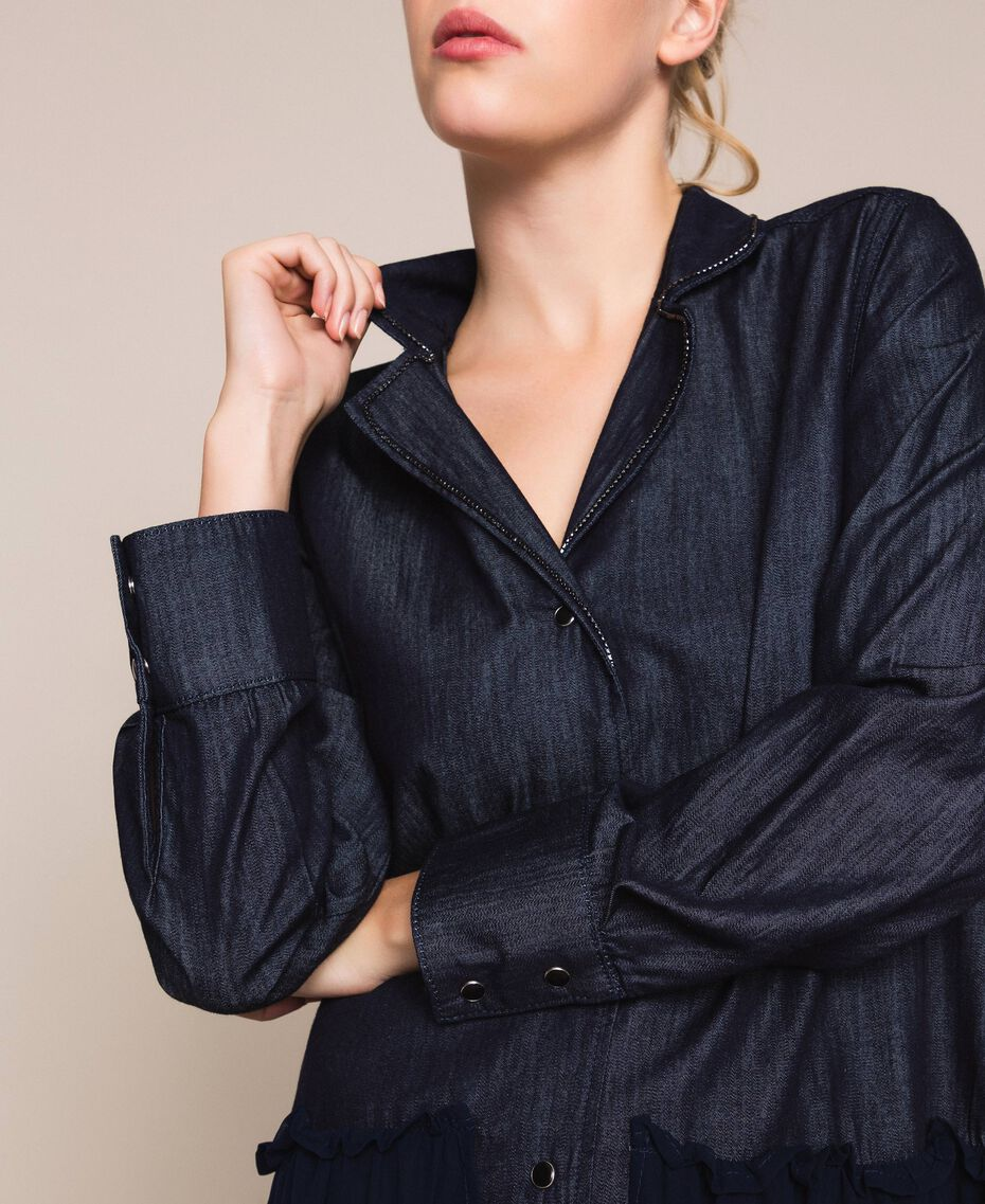 Denim shirt dress with rhinestones Denim Blue Woman 201MP2400-02