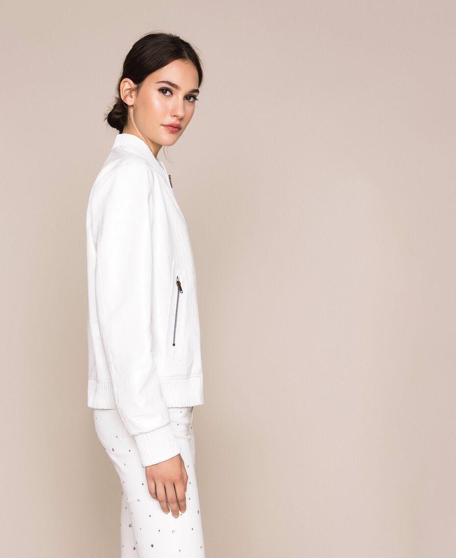 Crocodile print faux leather bomber jacket White Snow Woman 201TP2366-02