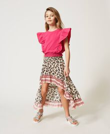 """Top with gathered sleeves """"Fuchsia Purple"""" Pink Child 211GJ2238-0T"""