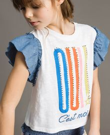 Jersey T-shirt and chambray details White Child 191GJ2650-04