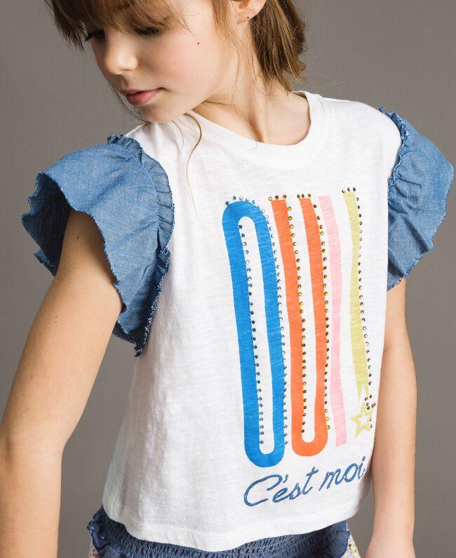 T-shirt en jersey et détails en batiste Blanc Enfant 191GJ2650-04