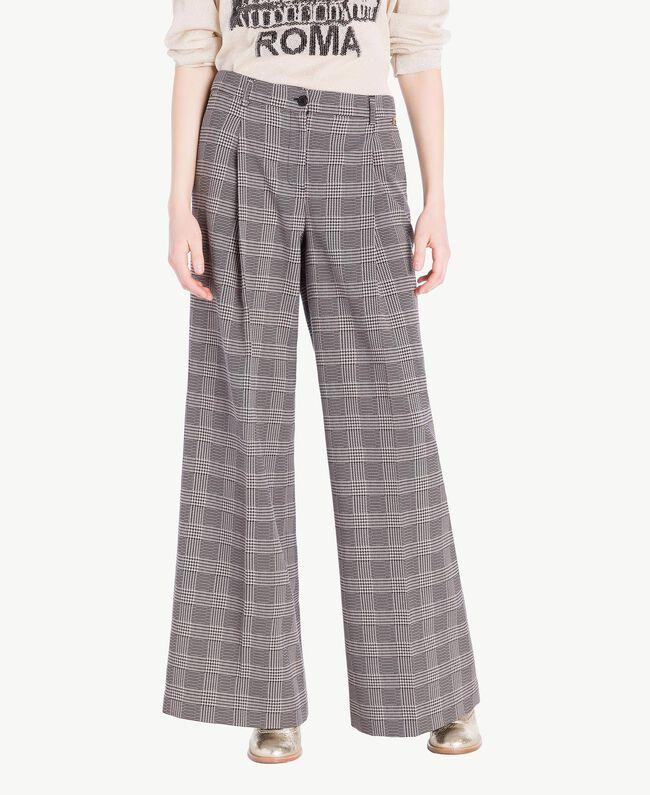 Pantalone palazzo check Jacquard Vichy Donna PS827Q-01