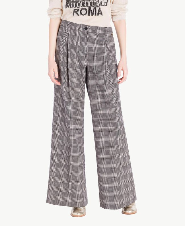 Pantalon palazzo carreaux Jacquard Vichy Femme PS827Q-01