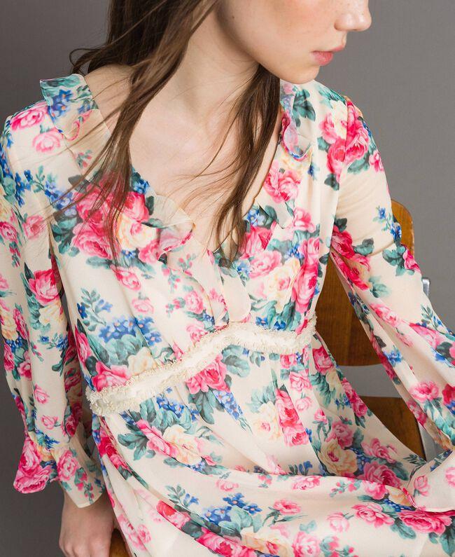 Georgette-Kleid mit Blumenmuster Motiv Tuch Weiße Blumen Frau 191MP2331-04