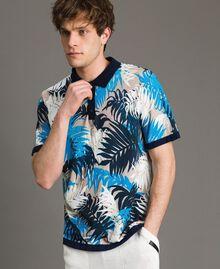 "Crêpe cotton printed polo shirt All Over ""Palms"" Marine Print Man 191UT3061-01"