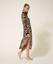Shirt dress made of animal print satin Animal Print Woman 202LL2EGG-03