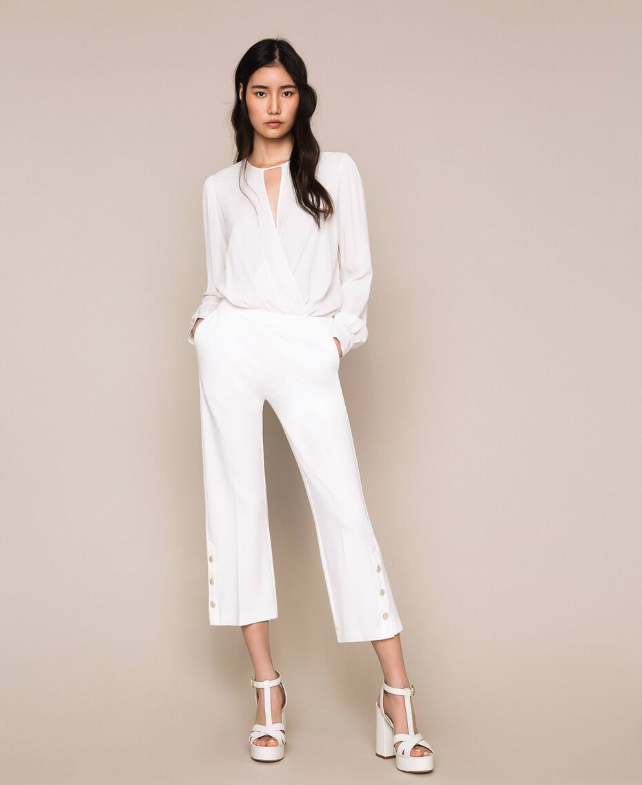 "Leather T-bar sandals ""Snow"" White Crocodile Print Woman 201TCP072-0S"