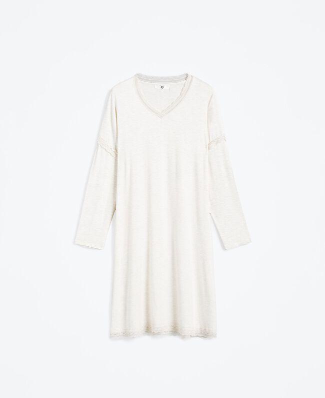 Nachthemd aus Jersey Elfenbeinmelange Frau LA8BEE-01