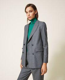 """Wool blend blazer Mottled Gray /""""Lurex"""" Silver Pin Stripe Woman 202TT2170-03"""