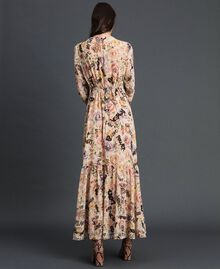Long dress with floral and graffiti print Vanilla Flower Graffiti Print Woman 192MP2221-03