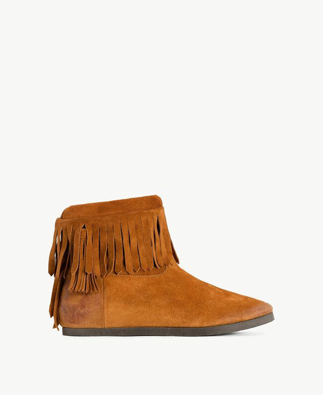 TWINSET Fringed boots Leather Brown Woman CS8TAW-01