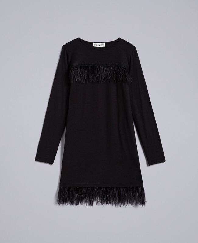 Jersey dress with feathers Black Child GA827A-01