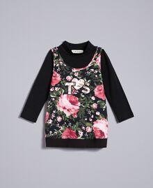 Pull à col montant en jersey et maxi top Imprimé Roses / Noir Enfant FA82LA-01