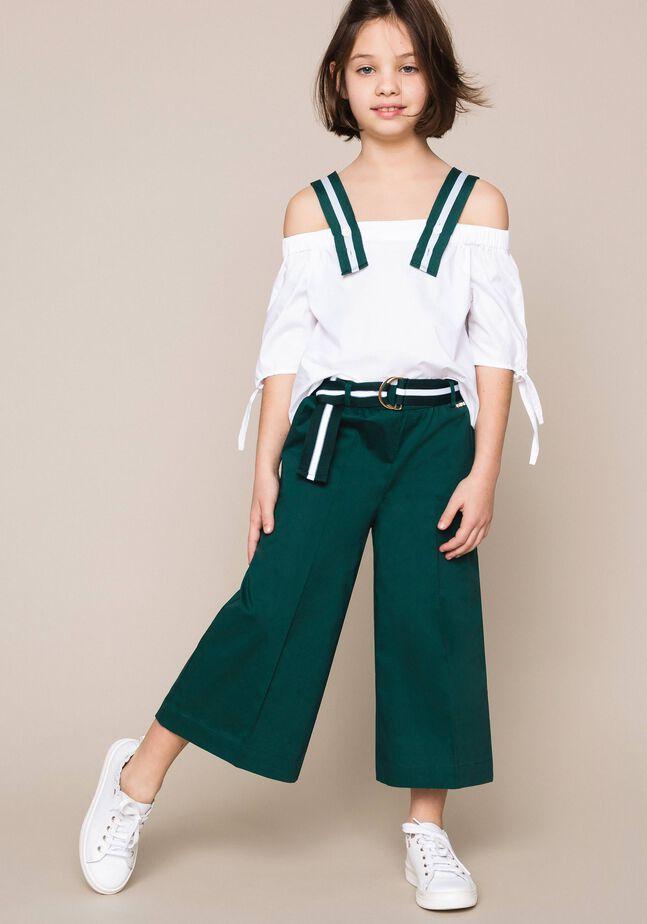 Pantalon large en popeline