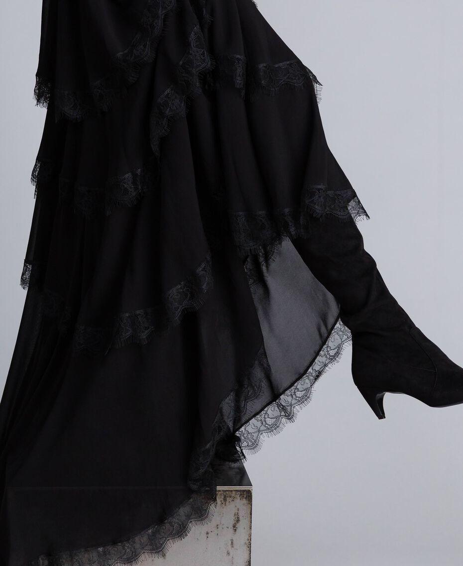 Robe longue en crêpe georgette volanté Noir Femme TA828E-05