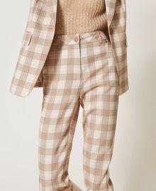 Pantalon cigarette en tissu à carreaux Prince-de-Galles Carreaux Blanc Crème / Beige «Dune» Femme 202MP228B-02