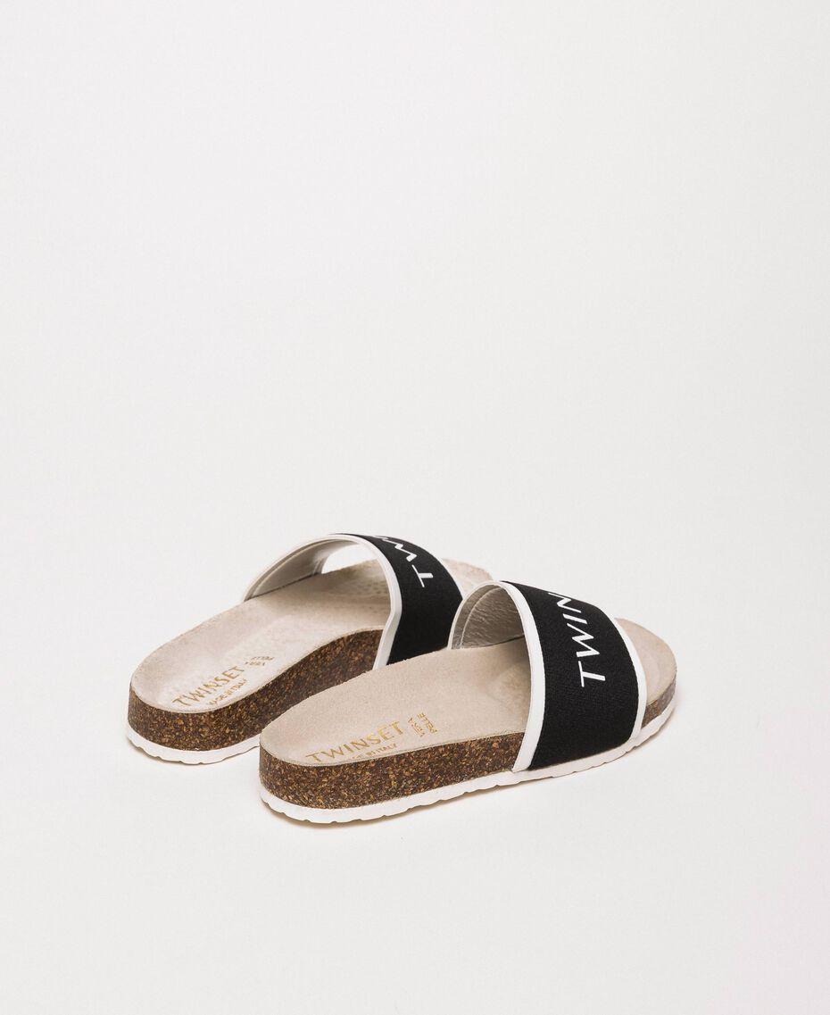 Sandalias slide de tela con logotipo Blanco Niño 201GCJ020-03