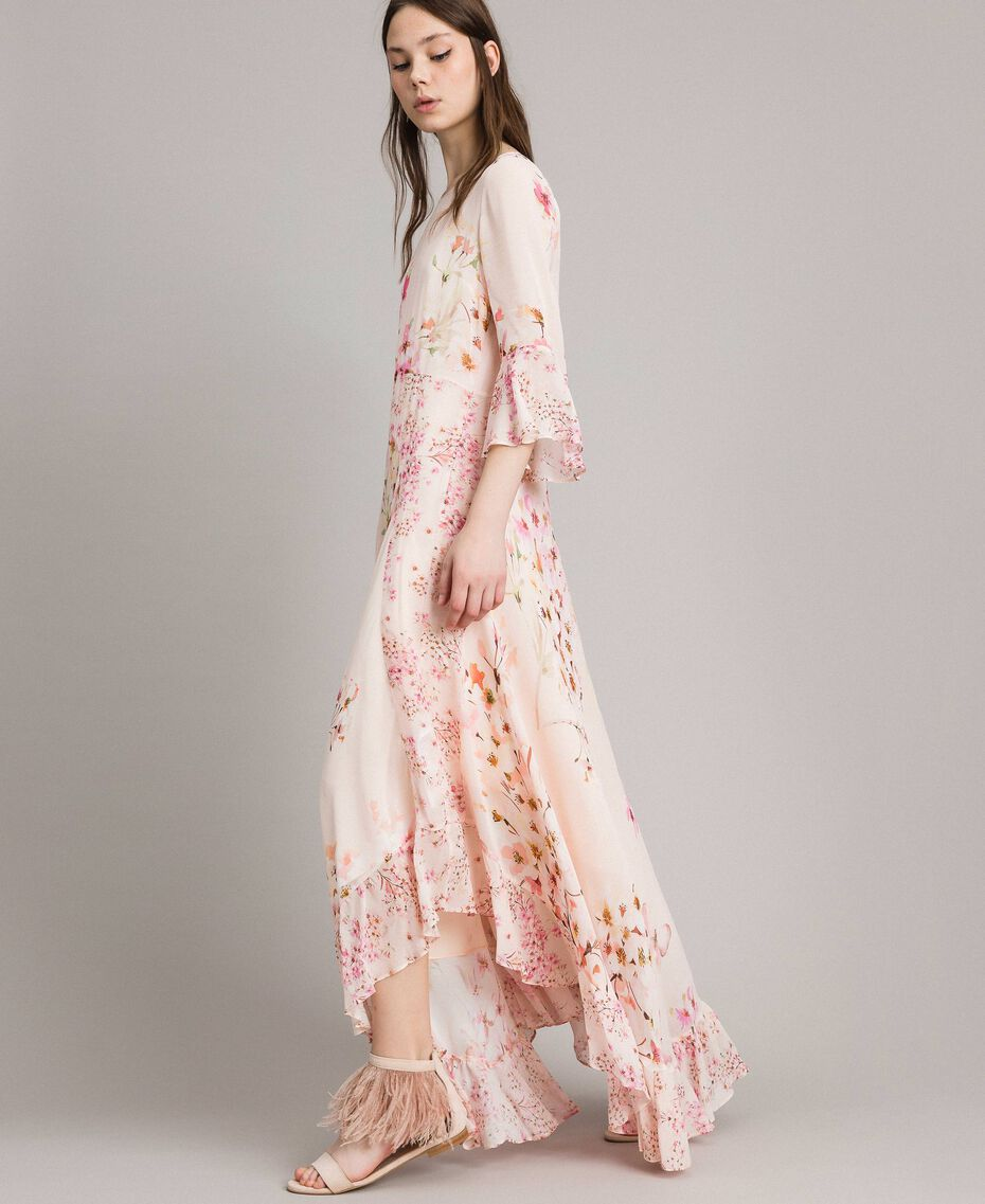 """Georgette-Maxikleid mit Blumenmuster Motiv """"Blossom / Peach Mix"""" Pink Frau 191TP2718-02"""