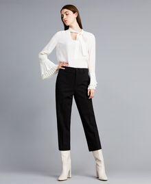 Pantalon en point de Milan Noir Femme TA822F-01