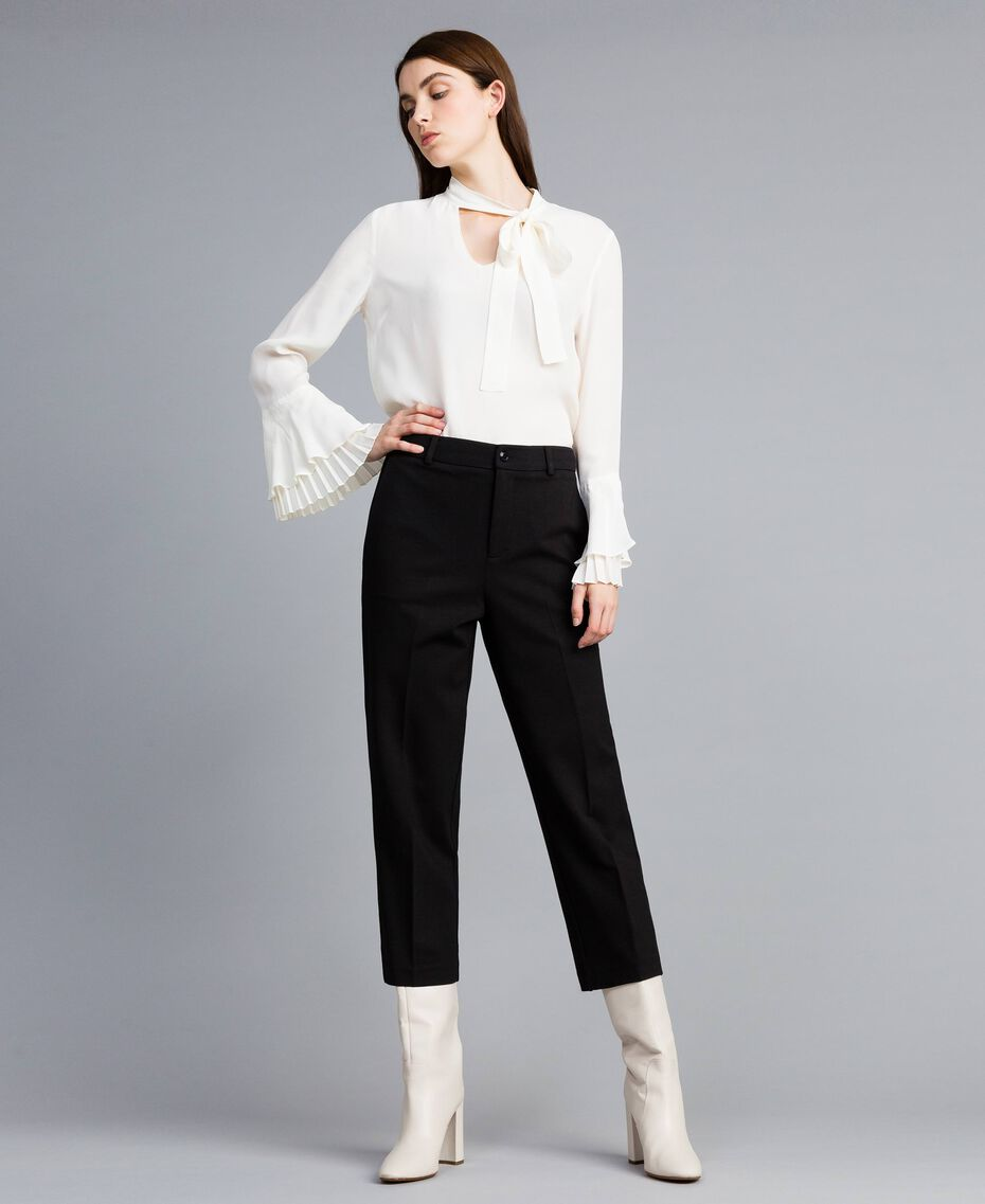 Pantaloni in punto Milano Nero Donna TA822F-01