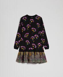 Abito in lana stampata con ricamo Stampa Mix Flower Black Donna 192TT3340-0S