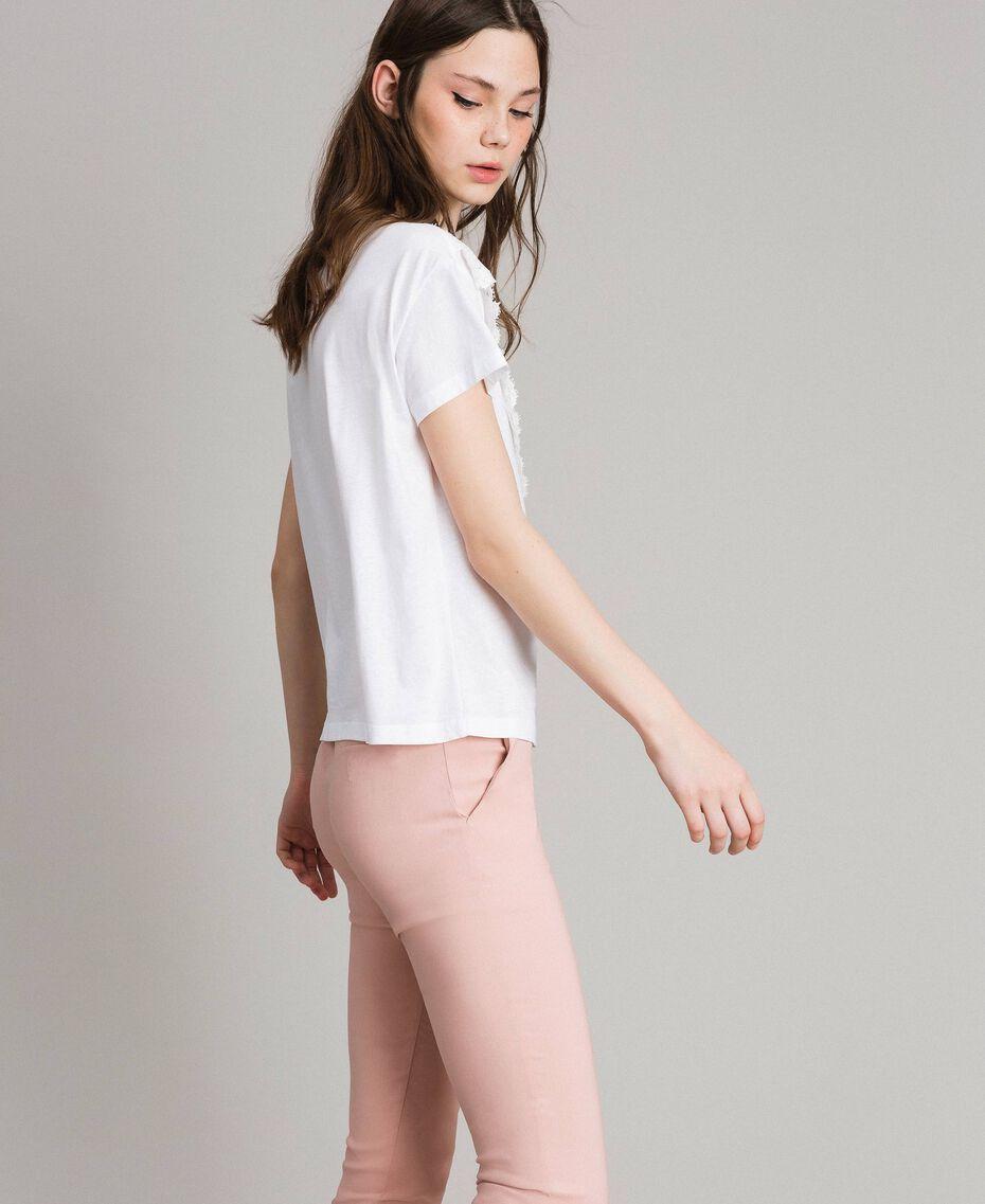 T-Shirt mit Spitze Weiß Frau 191LB2CAA-02