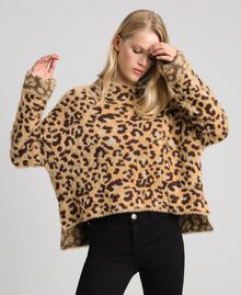 Animal print jacquard jumper with lurex Leopard Print Jacquard Woman 192TT3261-01