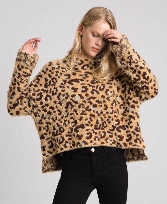 Animal print jacquard jumper with lurex